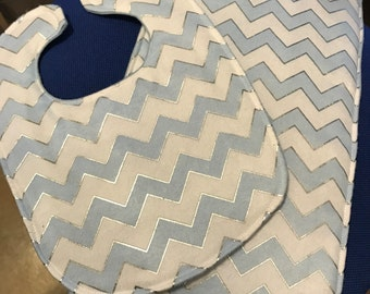 Baby Bib with Matching Burp Cloth - zig zag