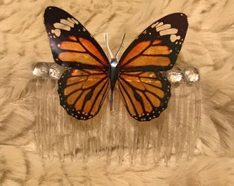Fairy butterfly gem hair comb