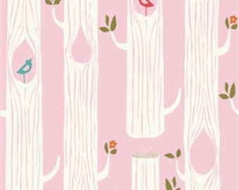 ON SALE!! Tree Stripes Organic Double Gauze Fabric - Pink - Sold by the 1/2 Yard