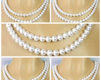 Five Double Strand Pearl Necklace, Many Colors Available, Set of 5 Swarovski Pearl Necklaces, Bridesmaid Wedding Gifts, Maid of Honor, Eva2
