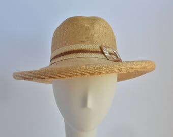 Small: Straw Fedora with Large Brim Sun Hat