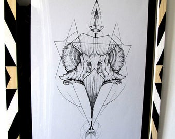 Drawing on paper with custom wooden frame