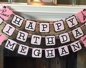 Paris themed birthday banner