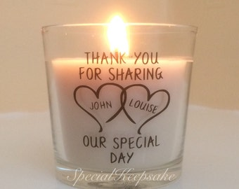 Personalised Wedding Glass Candle Favour Favor Scented Candle Unqiue Mr & Mrs 25 Hour Burn Time Keepsake Momento Decoration