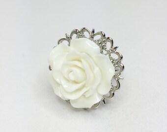 White Rose Ring Pretty Bridesmaid Gift Adjustable Rose Ring White Wedding Gift White Bridal Jewellery Filigree Ring Flower Girl Gift