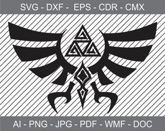 Zelda Triforce of Hyrule - Iron on Transfer - Cricut file - Laser Cutting and Engraving file - Printable Clipart - Vinyl Cutting file - SVG