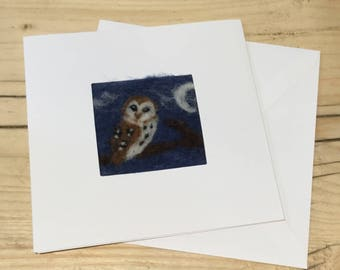 Owl needle felt greetings card. Needle felted Owl picture on a linen panel in a blank card for your own message