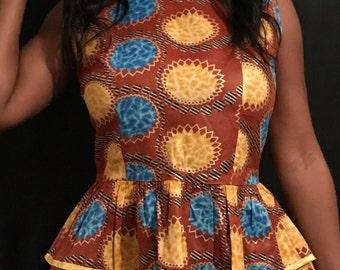 African Wax Print Peplum Top