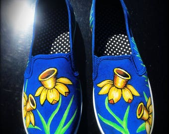 Custom Painted Floral Slip On Canvas Shoes