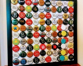 Bottle top bulletin board with set of bottle top magnets