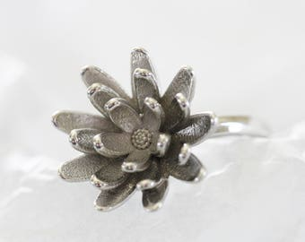 3D Printed Flower Ring - Rhodium Plated