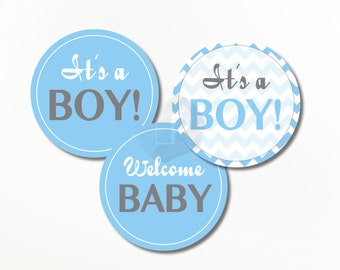 blue baby shower Cupcake Toppers printable, Cupcake Wrappers, cupcake liners, cupcake it's a boy, welcome baby, decorations BS02