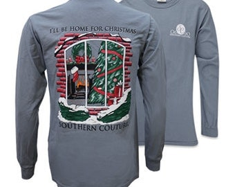 I'll be home for christmas,southern couture Long Sleeve,simply southern style