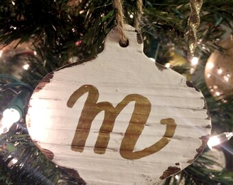Wooden Rustic Calligraphy Ornament - Customization Available! - Ornament shape