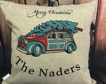 Customizable Vintage Truck Christmas Pillow with insert