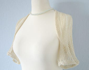 Knit bridal bolero Knit wedding bolero Ivory bolero shrug Off white bolero Crochet wedding Bridesmaids bolero Bridal capelet bolero jacket