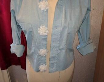 Denium crop jacket , summer jacket , floral jacket , re worked jacket , summer crop jacket , women's crop jacket , re worked shirt , jacket,