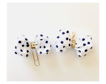 White and navy polka dots size small