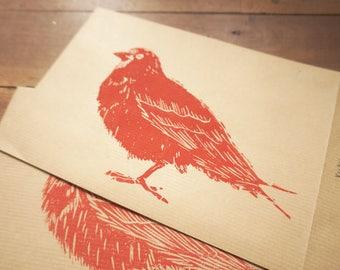 Envelope card postal ground bird Piouks linogravee
