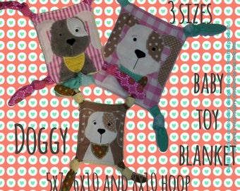 SET DOGGY Baby Toy Blankets - 5x7, 6x10 & 8x10 hoop - ITH - machine embroidery file - digital download