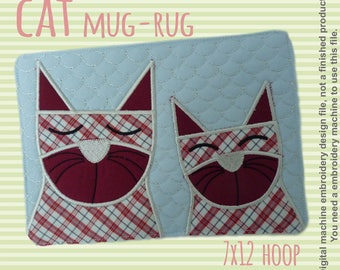 CATS mug rug - 7x12 hoop - In The Hoop - Machine Embroidery Design File, digital download