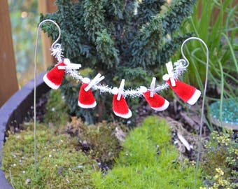 Clothesline with 5 Mini Santa Hats for use in a Fairy Garden