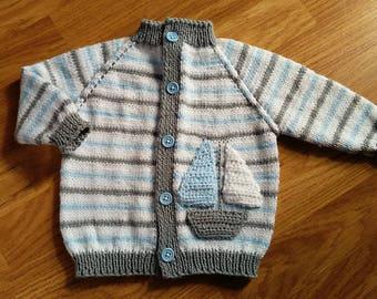 Knit boy cardigan/ Baby boy jacket/ Sail boat cardigan/ Baptism/ Baby shower gift/ Baby boy cardigan/ Knit baby cardigan/ Baby boy outfit