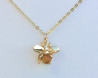 Honey Bee Charm Necklace, Simple Bee Necklace, 16K Gold Plated Bee Charm