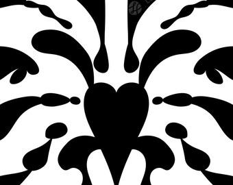 Inkblot Print, Abstract Art, Modern Printable, Geometrical Wall Art, Scandinavian Art, Splash Poster, Black & White, Symmetric Illustration