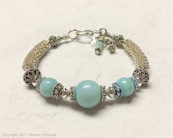 Amazonite and Sterling Silver Bracelet