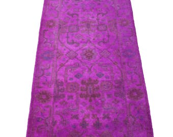 3x8 Turkish Ushak Hot Pink Runner Wool Pile 2898