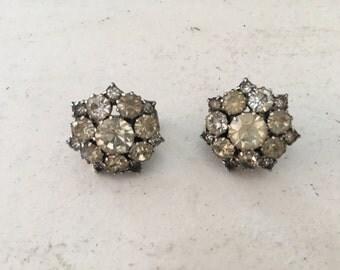 Vintage Clear Crystal Rhinestone and Silver Snowflake Earrings 0773