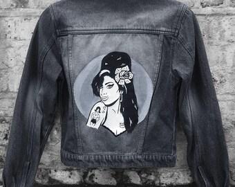 Amy Winehouse Inspired Painted Black Denim Jacket (Size: US 4, UK 8, EURO 34)