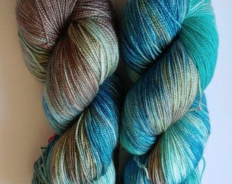 Hand dyed yarn, 150g fingering weight, superwash merino and silk blend, blue, turquoise, and brown, variegated, ready to ship, Barbados