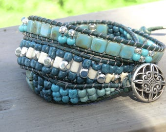 Handmade turquoise and silver beaded triple wrap bracelet