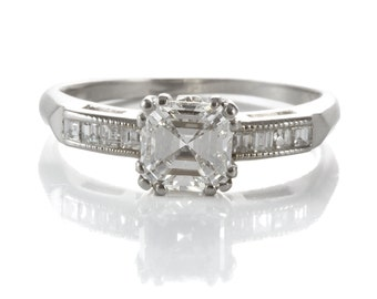 Diamond engagement ring Asscher cut | 1.01 carat center | platinum |  GIA report | carre cut diamonds