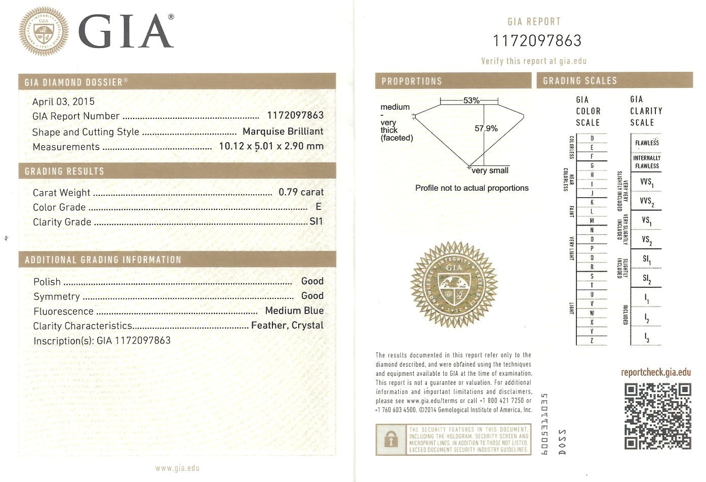Diamond marquise 79 ct gia report certificate e si1 marquise 212500 xflitez Image collections