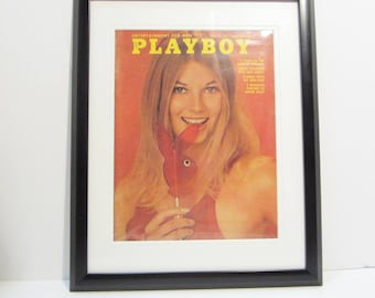Vintage Playboy Magazine Cover Matted Framed : March 1971 - Peggy Smith
