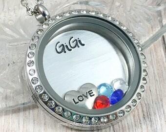 Gigi Necklace, Floating Locket, Gifts for Gigi, Great Grandma Jewelry, Birthstone Locket, Personalized Gigi, Mother's Day Gifts, Gigi Locket