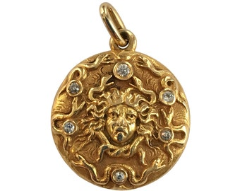 Art Nouveau 14K Gold Medusa Locket with Diamond