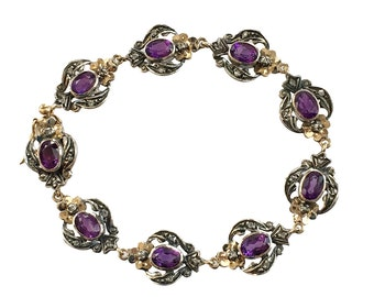 Edwardian Silver on Gold Amethyst Diamond Link Bracelet