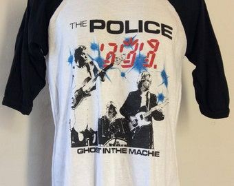 Vtg 1982 The Police Ghost In The Machine Concert T-Shirt M/L 80s New Wave Classic Rock Band Sting