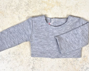 Long sleeve cropped top for 18 inch dolls Color Grey