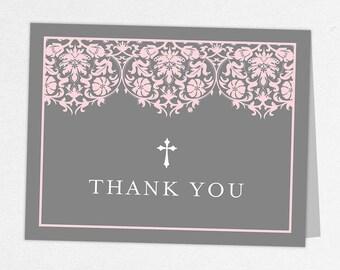 Communion Thank You Card, Photo Communion Thank You, Printable Communion Thank You, Folded Cards, Printed, Damask, Lace, Pink, Gray, Maura