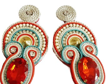 Long soutache earrings, statement earrings, chandelier earrings, red and mint colors with crystals, soutache embroidery, silk earrings.