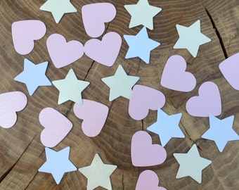 100 Pink and Ivory Confetti, Pink Hearts, Ivory Stars, Pearlescent card