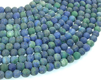 Matte Azurite Malachite Beads, Round, 6mm (6.5mm), 15.5 Inch, Full strand, Approx 64 beads, Hole 1mm, A quality (129054010)