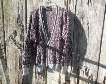 Vintage 90s ugly sweater cardigan Uniform Code SZ large geometric diamond pattern burgundy black white oversized hip hop street wear hipster