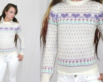 Vintage 80s Novelty PASTEL Purple HEART Floral Tiny Fit Retro Sweater Jumper XS