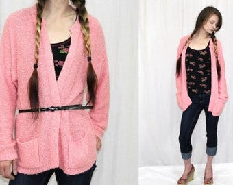 Vintage 80s PINK Nubby Texture Open Sweater CARDIGAN Pockets Retro Jacket S M L